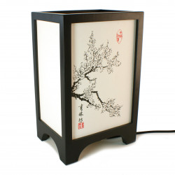 Japanese table lamp black FUKU - Cherry blossoms