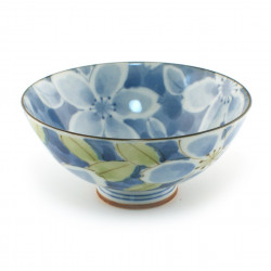 Japanese rice bowl 16M5304948E blue flowers