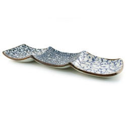 japanese rectangular sushi plate, TAKO KARAKUSA, blue and gray