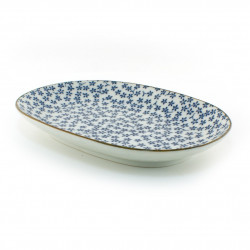 japanese rectangular sushi plate, HANA, blue