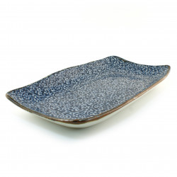Japanese blue plate rectangular ceramic TAKO-KARAKUSA