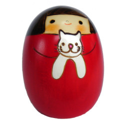 japanese wooden doll - kokeshi, NEKO NO SALLY, red