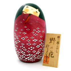 japanese wooden doll - kokeshi, HANA, red