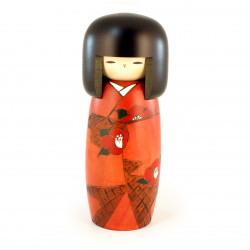 japanese wooden doll - kokeshi, SOSHUN, orange