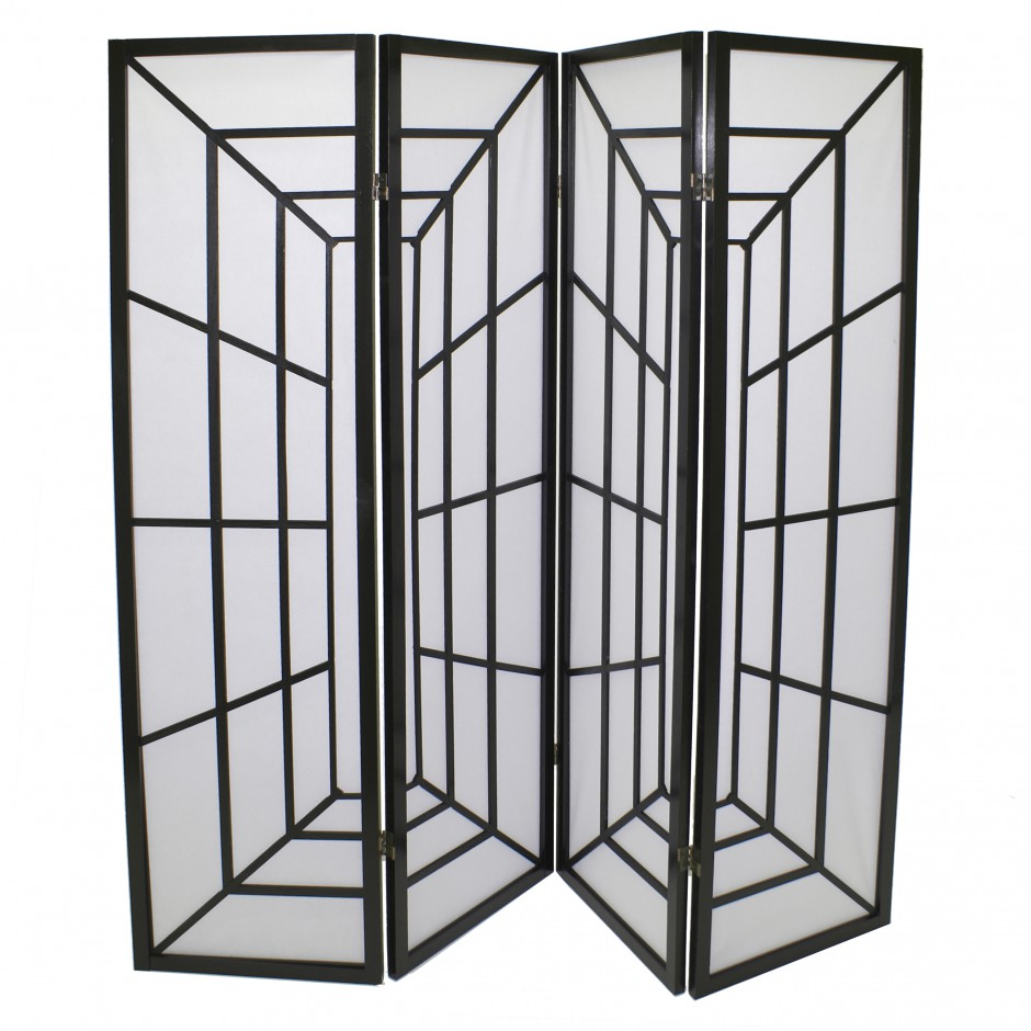 black japanese wooden screens design corridor 4P