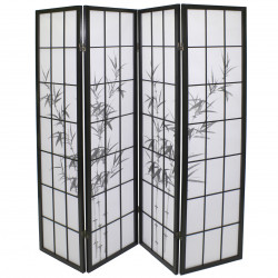 japanese screen made of wood and paper, BAMBOU, black