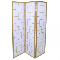japanese screen made of wood and paper, carrés, natural color
