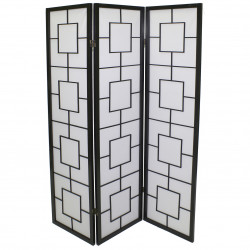 japanese screen made of wood and paper, carrés, black