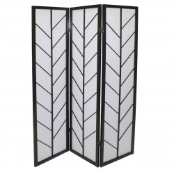 japanese screen made of wood and paper, épis, black