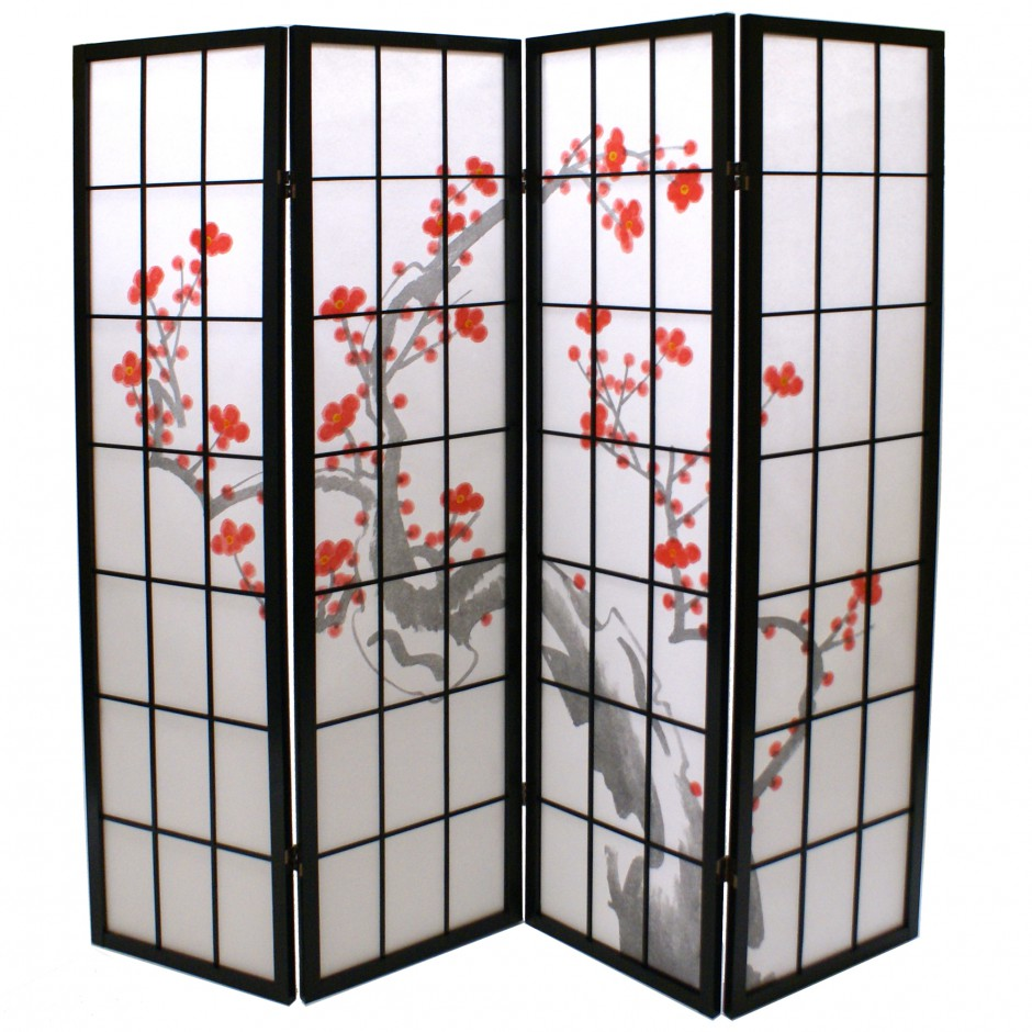 black japanese wooden screens design Plum 4P