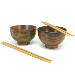 Duo wooden bowls for Japanese Miso Soup 16TOS231540