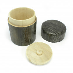 Japanese round solid wood tea box, HINOKI, round