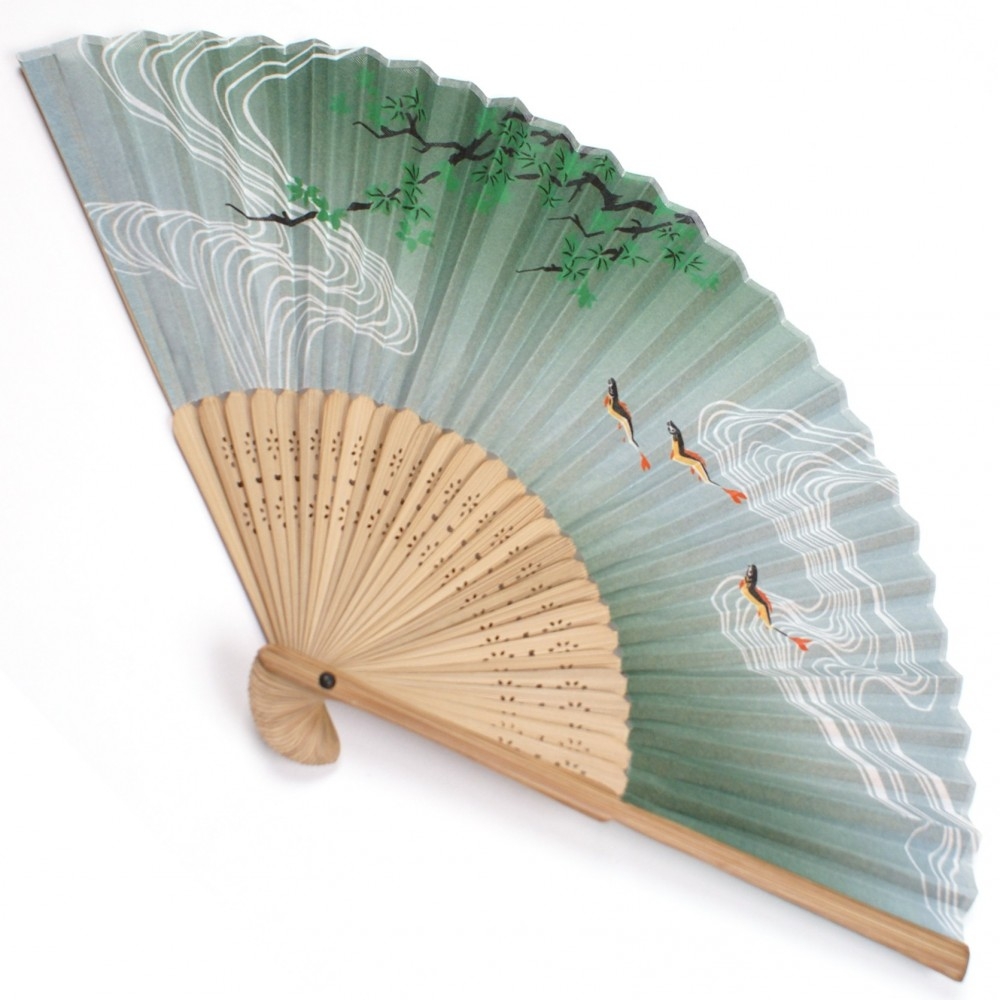 japanese fan - cotton and bamboo - green