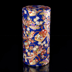 Japanese tea box made of washi paper, NOEUDS, blue