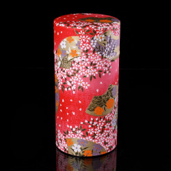 Japanese tea box made of washi paper, PETALES, red and pink