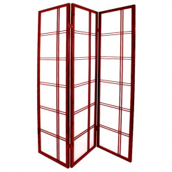 japanese screen made of wood and paper, DOUBLE CROIX, red