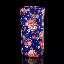 Japanese tea box made of washi paper, BALLES, blue