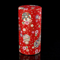 Japanese tea box made of washi paper, BALLES, red