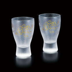 duo of japanese glasses made in Japan - Chōjū-jinbutsu-giga