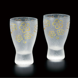 duo of japanese glasses made in Japan - sakura