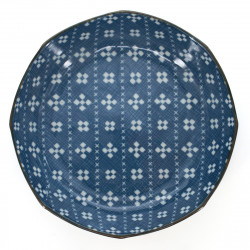 small-sized deep round plate with patterns blue KASURI