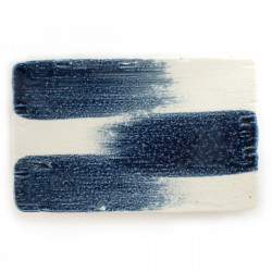 medium-sized thick rectangular plate white and blue RURI TOKUSA