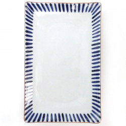 medium-sized rectangular plate with curved corners white TOKUSA
