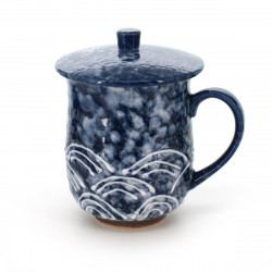 teacup with lid blue SEIGAIHA