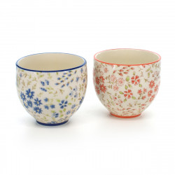 pair of tea cups with blue and red flowers patterns white NADESHIKO