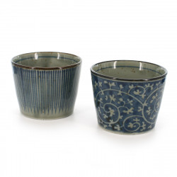 Pairs of soba cups with blue lines and blue patterns blue TOKUSA