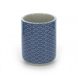 tea cup with patterns blue SEIGAIHA