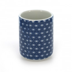 tea cup with patterns blue ASANOHA