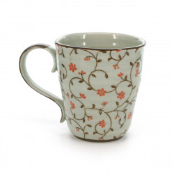teacup with red flower patterns white SABI KARAKUSA AKA