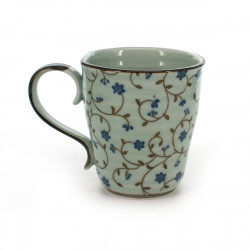 teacup with blue flower patterns white SABI KARAKUSA AOI