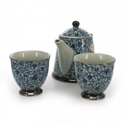 teapot and two teacups set with blue patterns blue KOZOME TSURU KARAKUSA