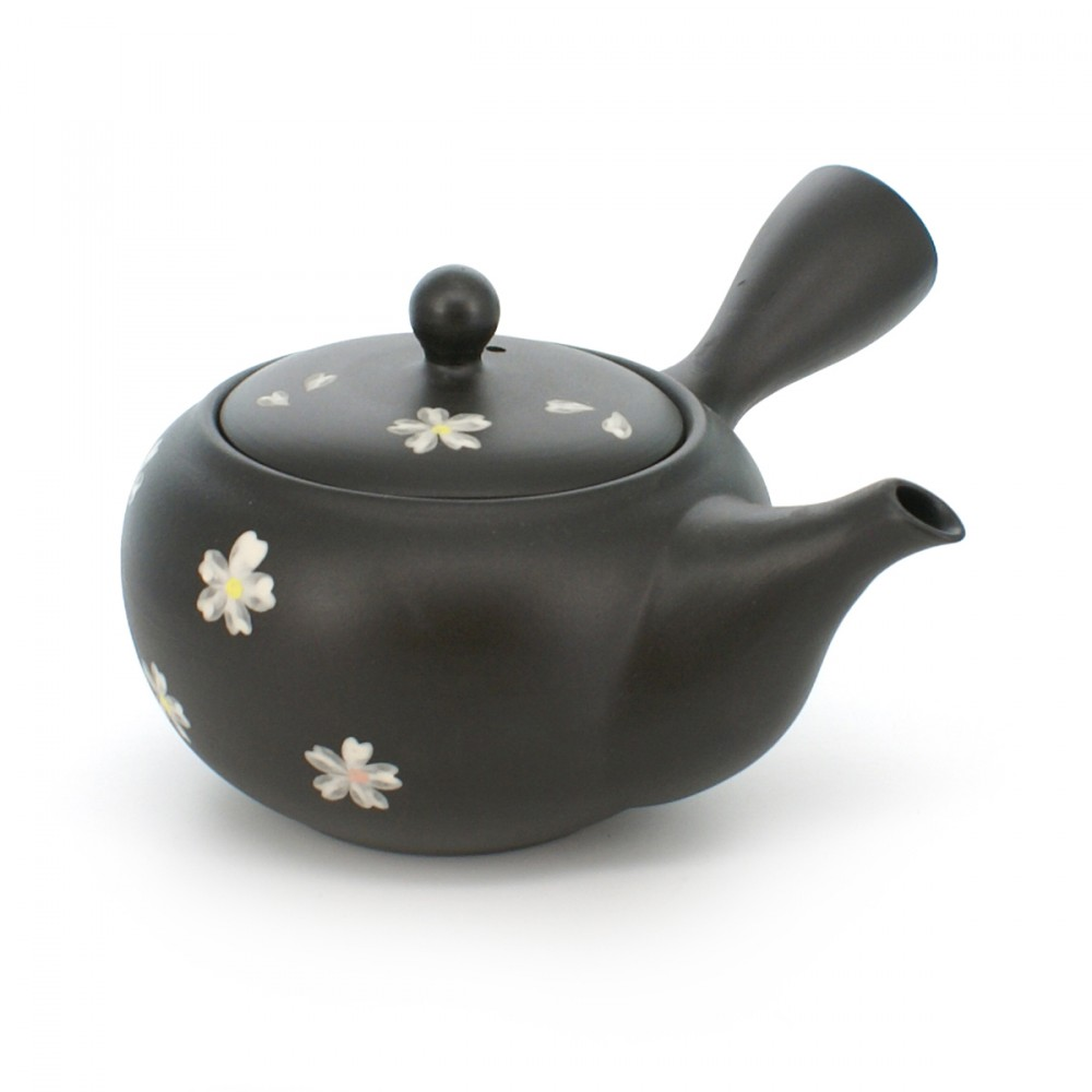 teapot with sakura flower patterns black KURODORO SAKURABA