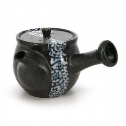 Japanese ceramic teapot, TAKO-KARAKUSA, black and blue patterns