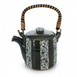 Japanese traditional teapot, ORIBE TOKUSA, green