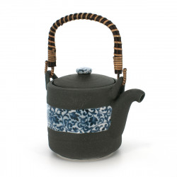 Japanese traditional teapot, KUROIGA KARAKUSA, blue flowers