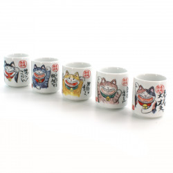 five sake cups set with 5 differents cat pictures white MANEKINEKO