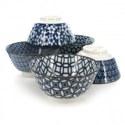 5 rice bowls set with flower patterns white and blue SHIMITSU