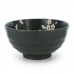 rice bowl for any type of use black SAKURA FLOWER
