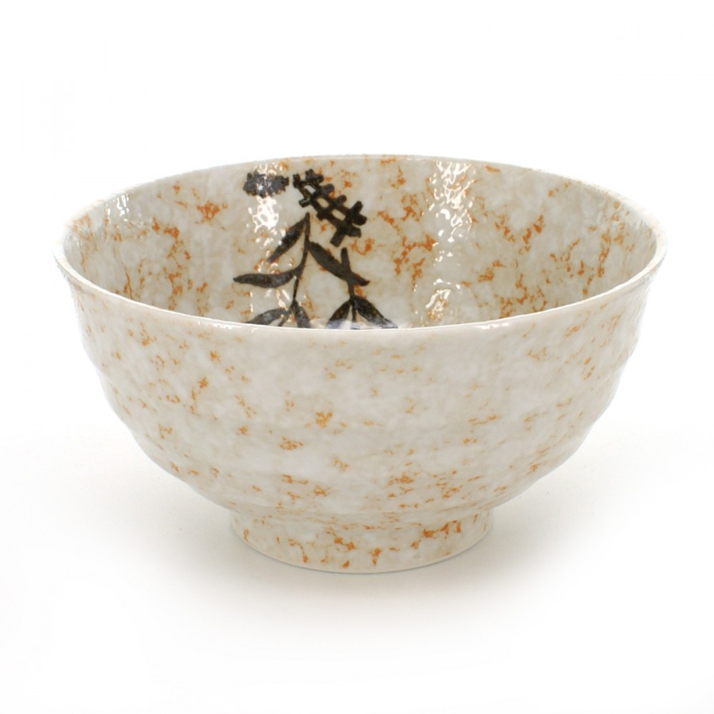 rice bowl for any type of use white with marbled brown SHINO SASA