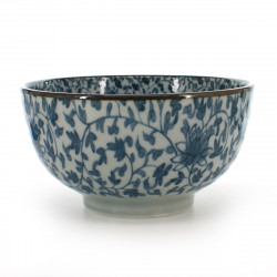 small-sized rice bowl blue KIKU-KARAKUSA