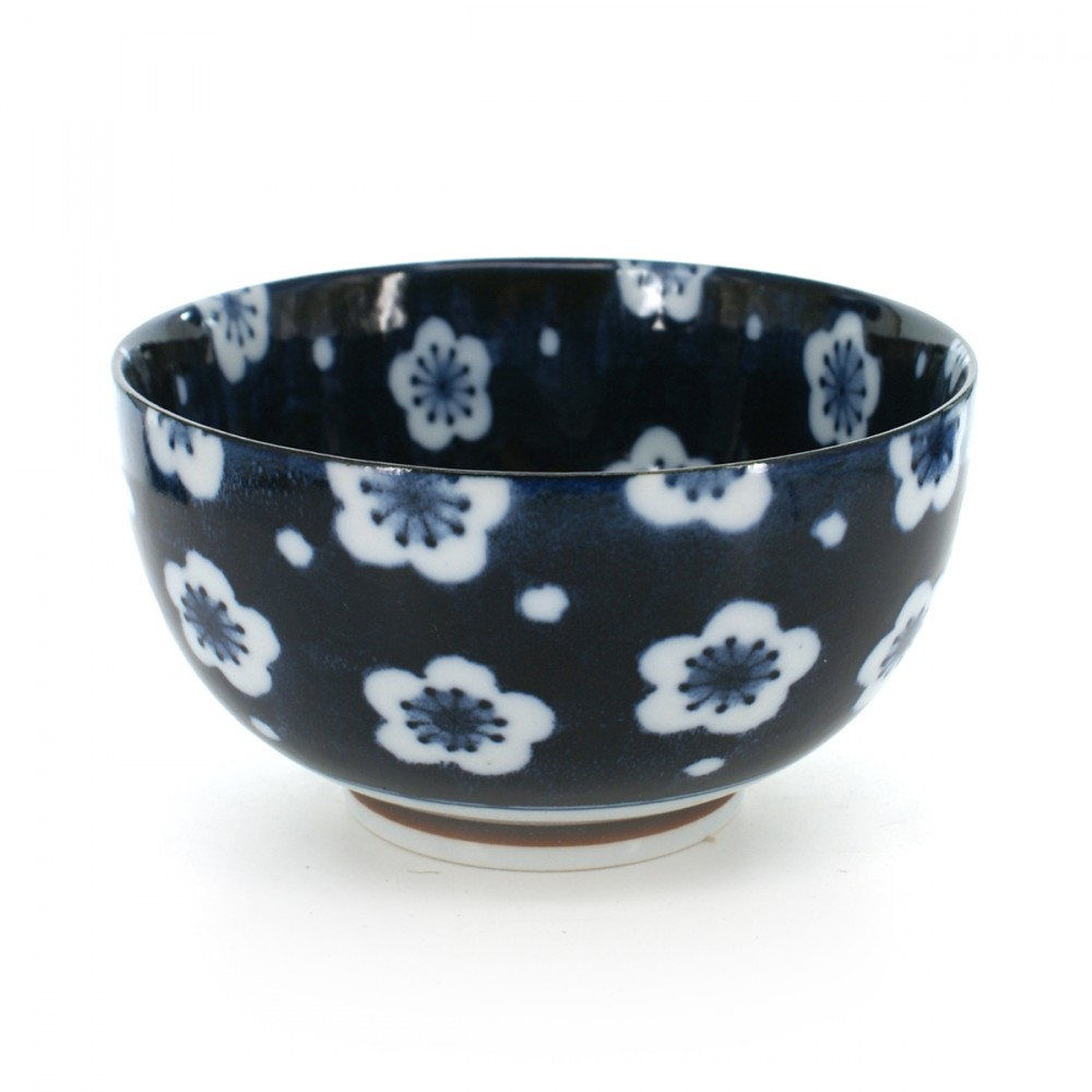 rice bowl with white plum flower patterns blue FUKUBUKU UME OKONOMI