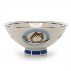 rice bowl with owl pictures blue KOHIKI MORI NO CHIE FUKURÔ KERYÔ