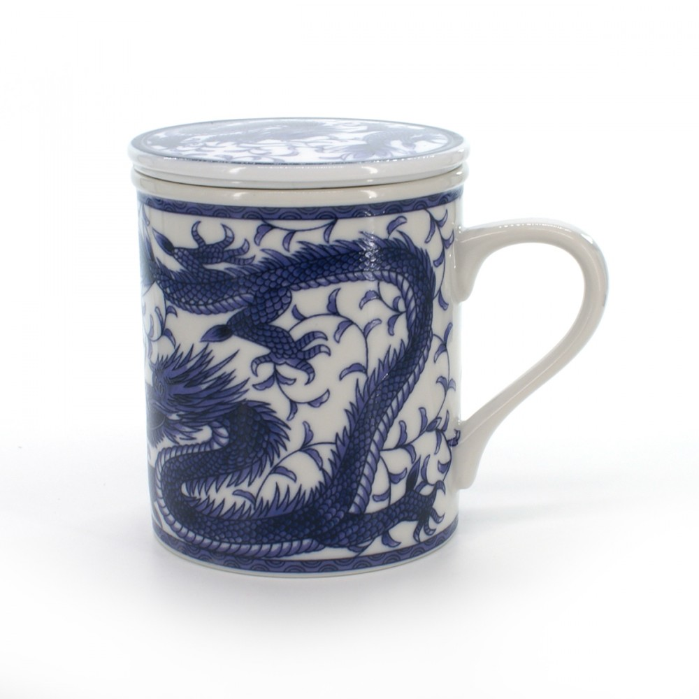cup with lid and blue dragon patterns white RYÛ