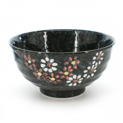 bowl with flower patterns black HANA KAZARI