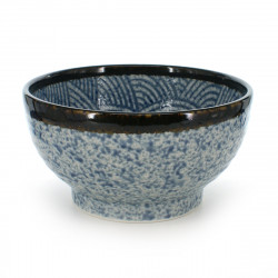 rice bowl with blue patterns blue SEIGAIHA