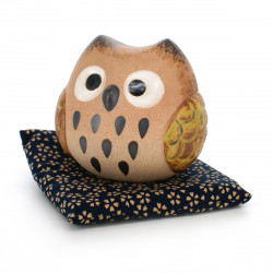 owl round coin bank with cushion beige MARU FUKURÔ CHOKIN-BAKO